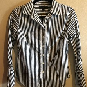 Dark grey and white stripped button down